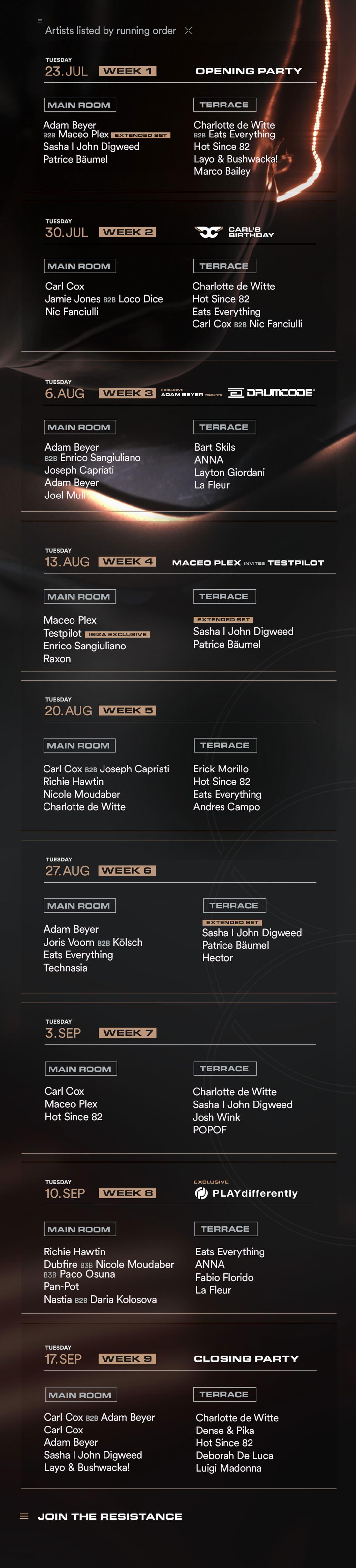 season lineup